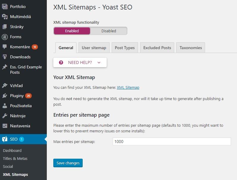 XML sitemap - Yoast SEO