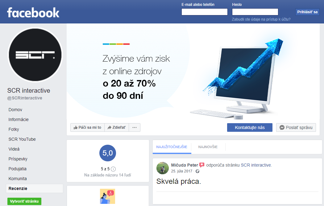 facebook zakaznicka recenzia