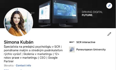 sociálna sieť LinkedIn a profil Simona Kubán
